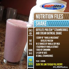 Try this amazing OxyELITE Protein™ Strawberry and Cream Oatmeal Shake! Directions: Mix all ingredients in blender or shaker. #Enjoy! #recipe #Protein #Fitfood #Smoothie #FlushFitness #USPLabs