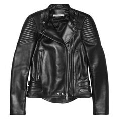 Givenchy Black leather biker jacket with ribbed panels (51765 MAD) ❤ liked on Polyvore featuring outerwear, jackets, coats, tops, moto jacket, motorcycle jacket, genuine leather jacket, asymmetrical zip jacket and buckle leather jacket