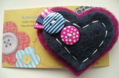 Wool Felt Heart Brooch or Corsage (Magenta & Navy)