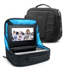 """In-Car Portable DVD Player Travel Display Case w/ Headrest Mount & Accessory Pockets by USA GEAR - Works with DBPOWER 9.5 Inch , Sylvania SDVD7040B , Ematic EPD909 & More 7-10"""" Portable DVD Players. Functions as a mount AND carrying case for your laptop or portable DVD Player. Custom compartments for AC adapters, cables, DVD cases, and spare batteries. Convenient Detachable Shoulder Strap for carrying. Securely attaches to back of front seat for easy viewing by backseat passengers...."""