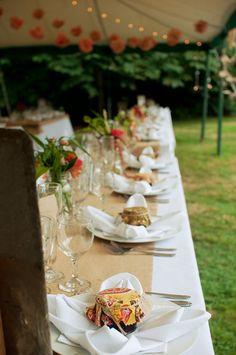 Burlap runner - a sweet start - a maine wedding officiant - blog - marylee + rick | august 18,2012
