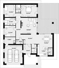 Two Storey Modern House Design Duplex Floor Plans, Modern House Floor Plans, Dream House Plans, Bungalow House Design, Small House Design, Modern House Design, Morrocan House, Single Storey House Plans, Small Villa