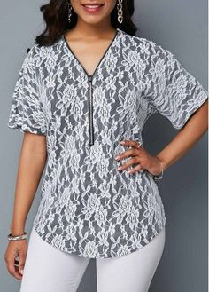 Tops For Women Short Sleeve Front Quarter Zip T Shirt Plus Size Outfits, Trendy Outfits, Modest Fashion, Fashion Outfits, Trendy Tops For Women, Shirt Sale, Clothes For Women, Shirts Online, Tops Online