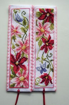 Cross stitch bookmarks. Red & Pink flowers. Vervaco.