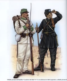 Battalion Cazadores del Misti Chasseur & Column of the Lima Security Police, soldier, 1880 Military Art, Military History, Military Uniforms, War Of The Pacific, American War, World War One, Napoleonic Wars, South America, Peru