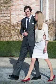 Belgian Prince Amedeo with his fiancee Elisabetta Rosboch von Wolkenstein (27)-also known as Lili-presented to the press Sunday afternoon 16.02.14.