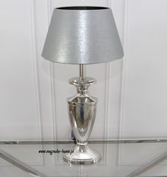 Lampa stołowa nikiel. Srebro.