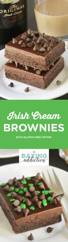 Irish cream brownies are ultra dense and fudgy with a Baileys spiked ganache. Recipe contains a gluten-free option.