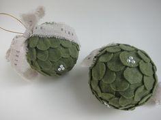 Kissing Ball Mistletoe Ornament Felt Christmas Tree by kaniko
