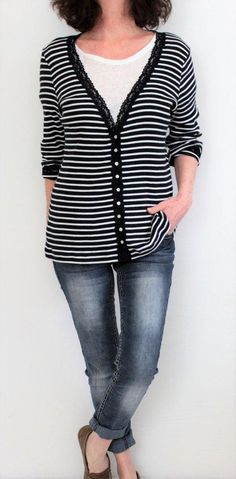 Chico's Cotton Button Down Lace Trim Striped Cardigan Black White Sz L (3) #Chicos #Cardigan