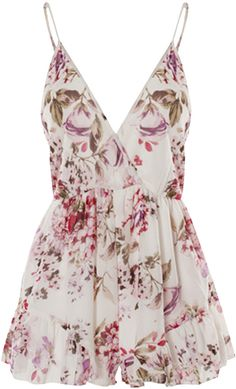 $32, White Floral Playsuit: Choies White Floral Print Camis Romper Playsuit. Sold by Choies. Click for more info: https://lookastic.com/women/shop_items/90510/redirect