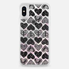Casetify iPhone X Liquid Glitter Case - Wild Heart (Black and White) by ChristineMay