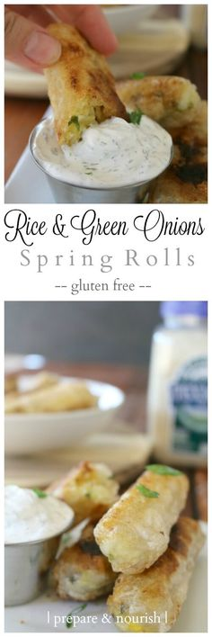 Rice and Green Onions Spring Roll - get the aromatic basmati rice with spring green onions and pastured eggs all wrapped in a perfect crispy rice wrapper. Fun and tasty gluten-free appetizer!