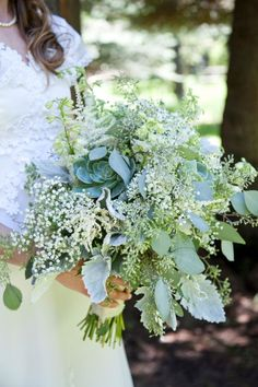A greenery bouquet: http://www.stylemepretty.com/2014/03/10/lakeside-wedding-at-shore-lodge/ | Photography: Tana - http://tanaphotography.com/