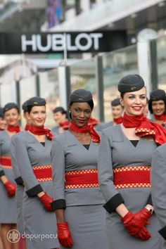 I love that foreign airlines are still doing this. Makes US flight attendants look so frumpy. High Fashion: Etihad Airways Flight Attendant Uniforms ~ Cabin Crew Photos