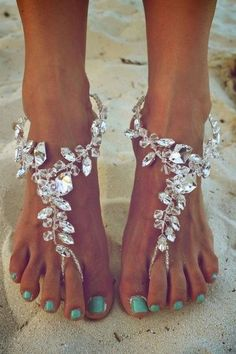 Diamond beach sandals and mint colored nails