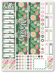 MAR Monthly View Green Floral Planner Stickers