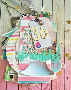 36 Sprinkles mini album by for using the Cake For Breakfast Kit! Mini Albums Scrap, Mini Scrapbook Albums, Scrapbook Paper Crafts, Book Crafts, Diy And Crafts, Minis, Skirt Mini, Ideas Geniales, Crate Paper