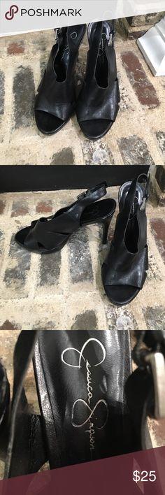 Jessica Simpson black leather heels Jessica Simpson black leather heels. Non smoking home. Jessica Simpson Shoes Heels