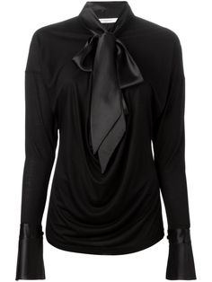 Givenchy Pussy Bow Blouse in Black | Lyst