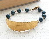 Brass Feather Bracelet, Midnight Blue Pearls, Navy, Night Sky, Deep Teal, Gold Brass, Woodland Wedding Jewellery, Nature Inspired