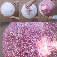"""Glitter Lantern: paint pink, add sparkles, then write """"keep calm and sparkle on"""""""