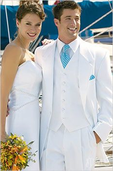 White Tuxedo with Blue Tie for Groom and Wedding Party