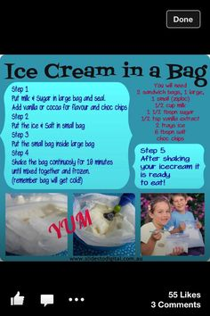 Ice cream in a bag- trying this right now :)