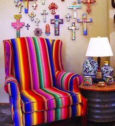 Mexican devotional decor: Mexican bright palette with crosses