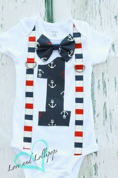 Nautical Theme Bow tie and Suspenders set, Boy Cake Smash, Boy first year outfit,  Boy number 1, Boy first birthday, Boy Second,Boy Sailing by LoveAndLollipopsBaby on Etsy