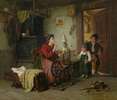 File:Hermann Sondermann Familie mit Frau am Spinnrad. Diorama, Fiber Art, Needlework, Art Gallery, Weaving, My Arts, Knitting, Illustration, Artist