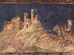 Simone Martini, Guidoriccio da Fogliano, part., Sala del mappamondo, Palazzo pubblico di Siena