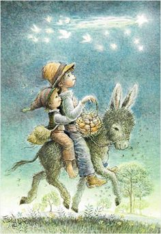 Christmas Donkey, Mexican Christmas, Vintage Christmas, Sarah Kay, Kids Poems, Holiday Images, Cute Stories, Fairytale Art, Vintage Santas