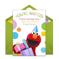 Customizable, free Elmo Party Hat online invitations. Easy to personalize and send for a Elmo birthday party. #punchbowl