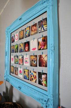 Framed GrooveBook pics! Great idea for kids' artwork or just to do one for each child and put things all about them.