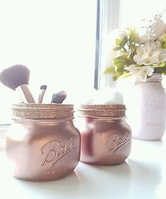 Painted Rose Gold Mason jars set of 2 - Perfect for Home Decor