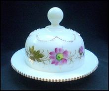 "Heisey ""Beaded Swag – Opal"" Covered Butter Dish, from Yesterdays."