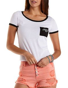 Mermaid Embroidered Ringer Pocket Tee: Charlotte Russe #mermaid #musthave