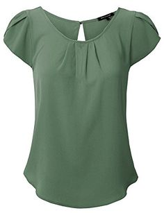Womens Scoop Neck Pleated Front Chiffon Petal Short Sleeve Blouse Tops ** You can get more details by clicking on the image. (This is an affiliate link) Frocks For Girls, Little Girl Dresses, New Kurti Designs, Fancy Tops, Work Attire, Frock Design, Short Sleeve Blouse, Plus Size Fashion, Chiffon