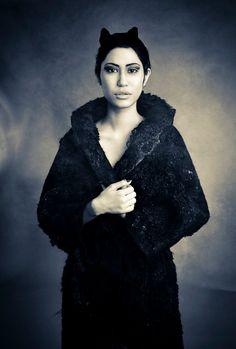 Black felt coat fur free kimono by vilte OOAK by vilte on Etsy Black Felt 08759e8d253b4
