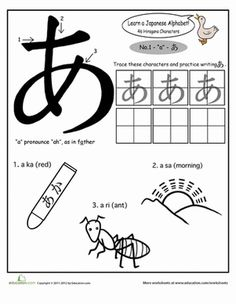 Kindergarten Phonics Japanese Foreign Language Worksheets: Japanese Alphabet: Hiragana