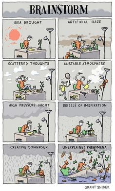 "We've definitely known the ""drizzle of inspiration"" phenomenon. // Cartoon by GRANT SNIDER"