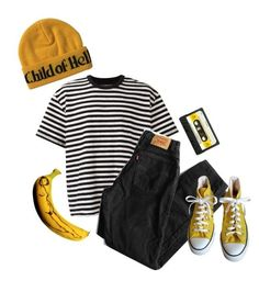 """Yellow and Mellow"" by anklebiterzz ❤ liked on Polyvore featuring À La Garçonne, Levi's and Converse"