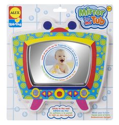 Bath time is never lonely when you're making funny faces in the mirror! Mirror sticks right to the tub wall so kids can watch as they wash. Cute TV shape i