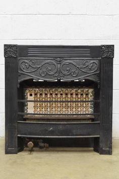 vintage ornamental cast iron victorian era fireplace gas insert ...