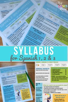 Syllabus bundle for Spanish 1, Spanish 2 & Spanish 3. Editable with Pages!