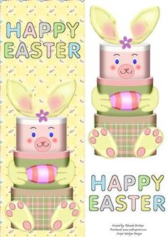 Bunny Hat Boxes DL on Craftsuprint designed by Rhonda Brittain - This cute bunny with hat boxes makes a quick and easy easter card - Now available for download!