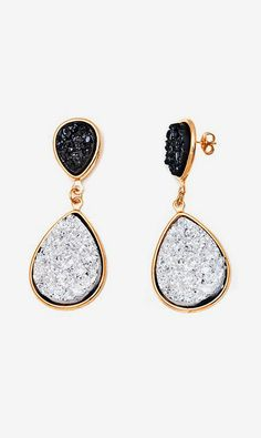 Sevil Designs Black & White Druzy Crystal Teardrop Earrings