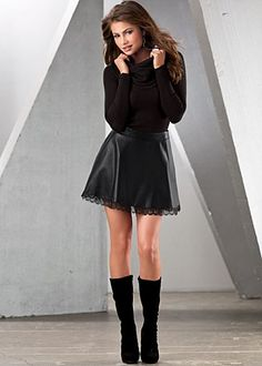 Cowl Neck Sweater + Leather Skirt + Suede Boots