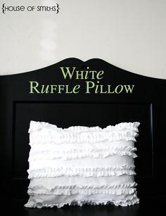 White Ruffle Pillow Tutorial from thehouseofsmiths.com #DIY #pillow #ruffle